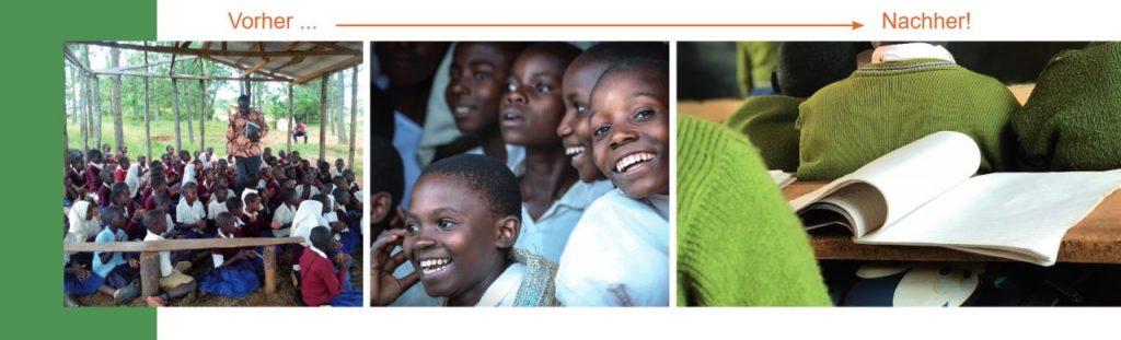 Aktionsbild Mitglieder werben Mitglieder_Drei verschiedene Bilder mit vorher nachher Schulszenarien an einer tansanischen Grundschule_Ein überfülltes Klassenzimmer ohne Wände; Lächelnde Kinder; Schulbänke mit Büchern darauf und Kindern in Schuluniform